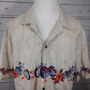 Motorcycle Hawaiian Short Sleeve Button Shirt  XXL